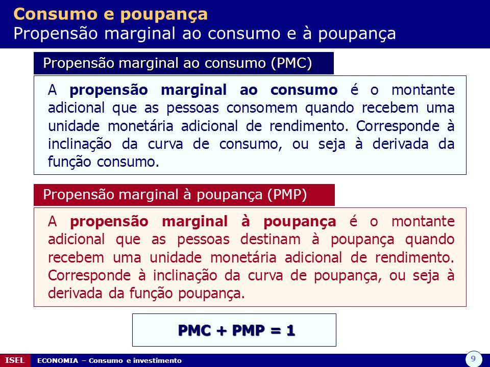 9 ISEL ECONOMIA – Consumo e investimento Consumo e poupança Propensão marginal ao consumo e à poupança Propensão marginal ao consumo (PMC) Propensão m