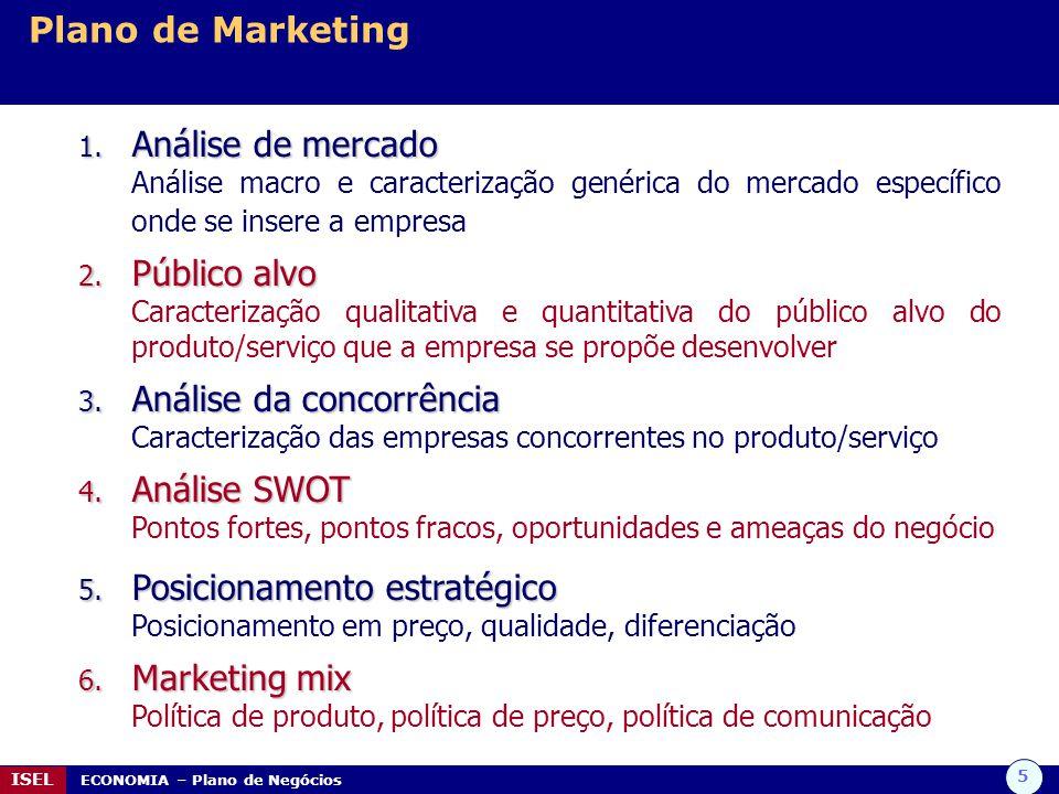 5 ISEL ECONOMIA – Plano de Negócios Plano de Marketing 1. Análise de mercado Análise macro e caracterização genérica do mercado específico onde se ins