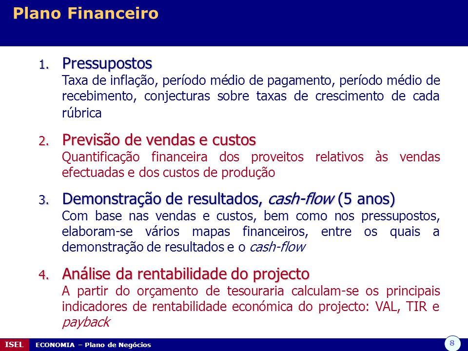 8 ISEL ECONOMIA – Plano de Negócios Plano Financeiro 1. Pressupostos Taxa de inflação, período médio de pagamento, período médio de recebimento, conje