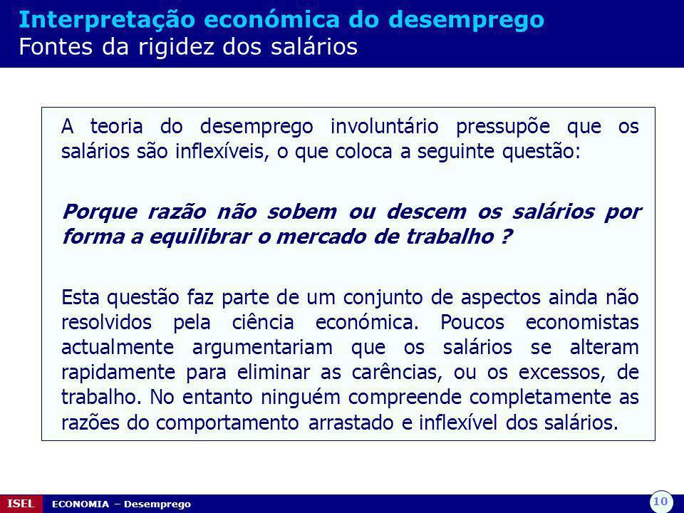 10 ISEL ECONOMIA – Desemprego Interpretação económica do desemprego Fontes da rigidez dos salários A teoria do desemprego involuntário pressupõe que o