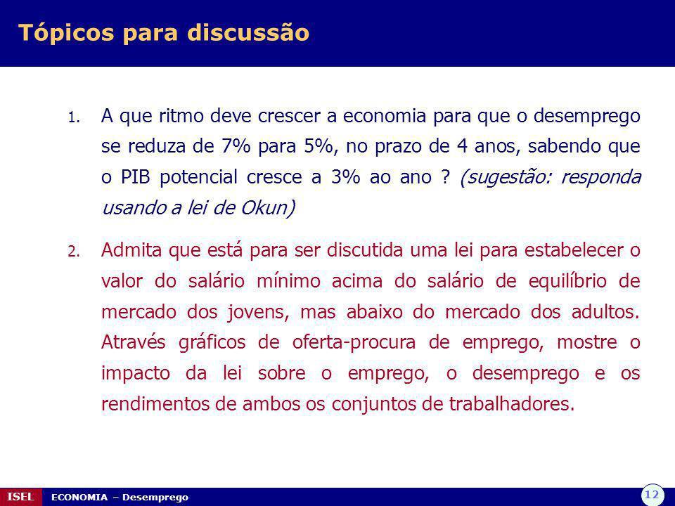 12 ISEL ECONOMIA – Desemprego Tópicos para discussão 1. A que ritmo deve crescer a economia para que o desemprego se reduza de 7% para 5%, no prazo de