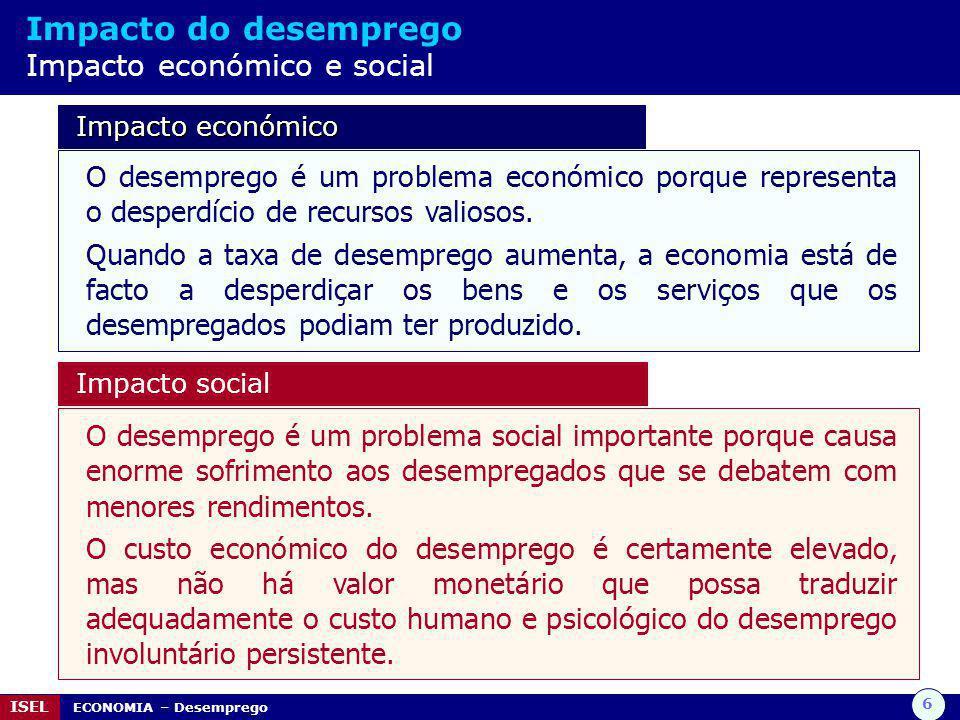 7 ISEL ECONOMIA – Desemprego Lei de Okun Relação entre a taxa de desemprego e variação do PIB Segundo a Lei de Okun, por cada 2% de quebra do PIB relativamente ao PIB potencial, a taxa de desemprego aumenta cerca de 1%.