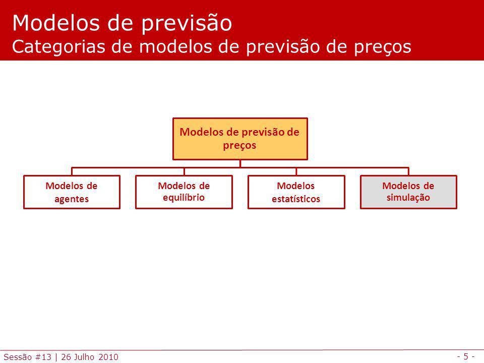 - 5 - Sessão #13 | 26 Julho 2010 Modelos de previsão Categorias de modelos de previsão de preços Modelos de previsão de preços Modelos de agentes Modelos de equilíbrio Modelos estatísticos Modelos de simulação