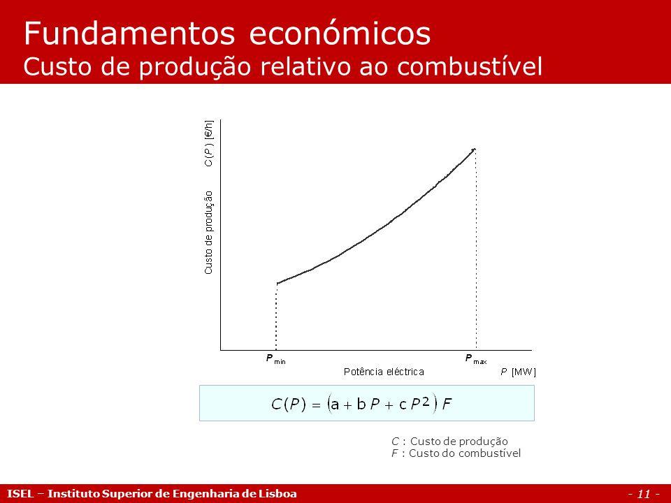 - 11 - Fundamentos económicos Custo de produção relativo ao combustível ISEL – Instituto Superior de Engenharia de Lisboa C : Custo de produção F : Cu