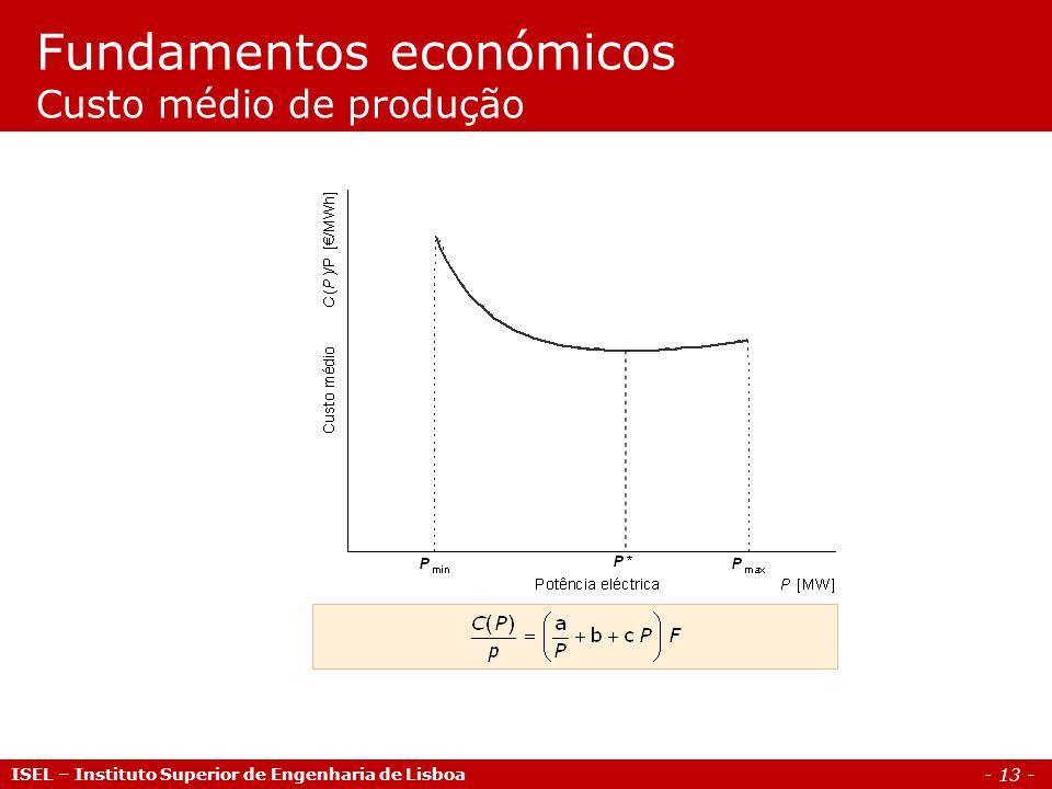 - 13 - Fundamentos económicos Custo médio de produção ISEL – Instituto Superior de Engenharia de Lisboa