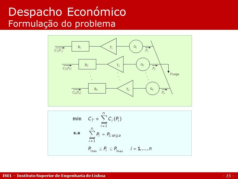 - 15 - Despacho Económico Formulação do problema ISEL – Instituto Superior de Engenharia de Lisboa...... Pcarga C1(P1)C1(P1)P1P1 G1G1 T1T1 B1B1 C2(P2)