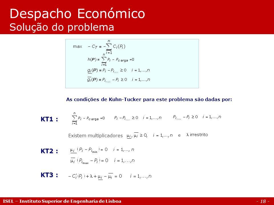 - 18 - Despacho Económico Solução do problema ISEL – Instituto Superior de Engenharia de Lisboa As condições de Kuhn-Tucker para este problema são dad