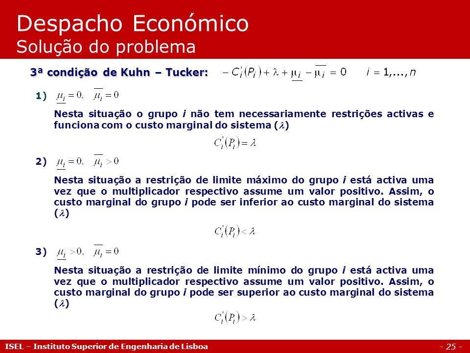 - 25 - ISEL – Instituto Superior de Engenharia de Lisboa Despacho Económico Solução do problema 3ª condição de Kuhn – Tucker: 1) Nesta situação o grup