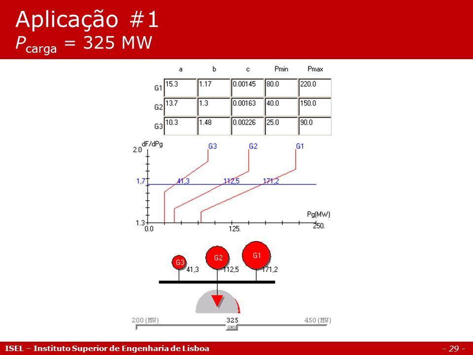 - 29 - Aplicação #1 P carga = 325 MW ISEL – Instituto Superior de Engenharia de Lisboa