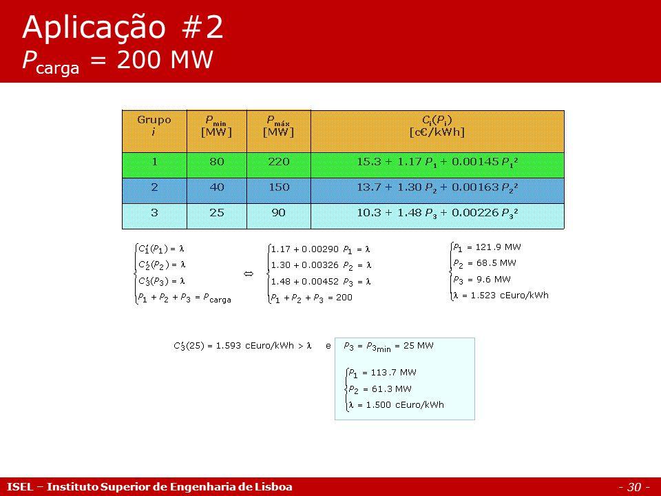 - 30 - Aplicação #2 P carga = 200 MW ISEL – Instituto Superior de Engenharia de Lisboa