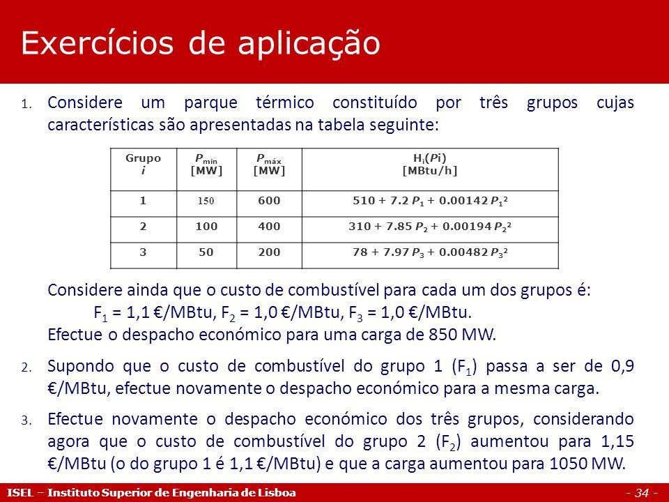 - 34 - ISEL – Instituto Superior de Engenharia de Lisboa 1. Considere um parque térmico constituído por três grupos cujas características são apresent