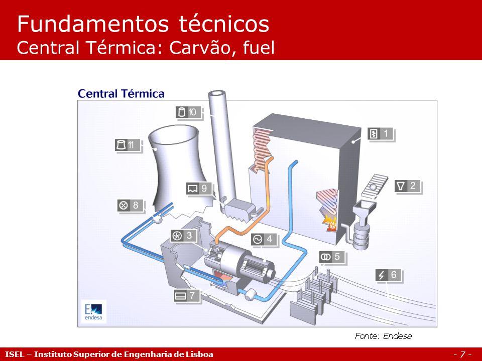 - 7 - Fundamentos técnicos Central Térmica: Carvão, fuel ISEL – Instituto Superior de Engenharia de Lisboa
