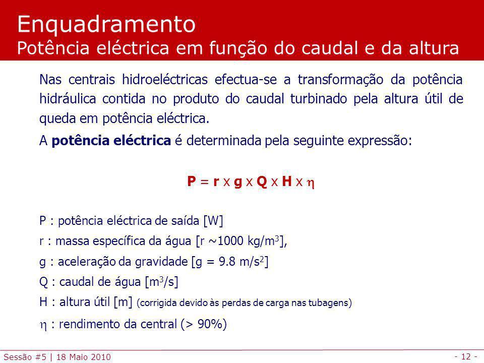 - 12 - Sessão #5 | 18 Maio 2010 Nas centrais hidroeléctricas efectua-se a transformação da potência hidráulica contida no produto do caudal turbinado