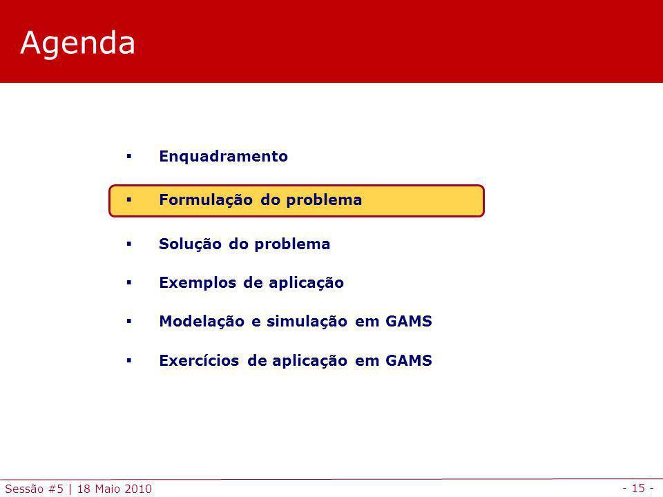 - 15 - Sessão #5 | 18 Maio 2010 Agenda Enquadramento Formulação do problema Solução do problema Exemplos de aplicação Modelação e simulação em GAMS Ex