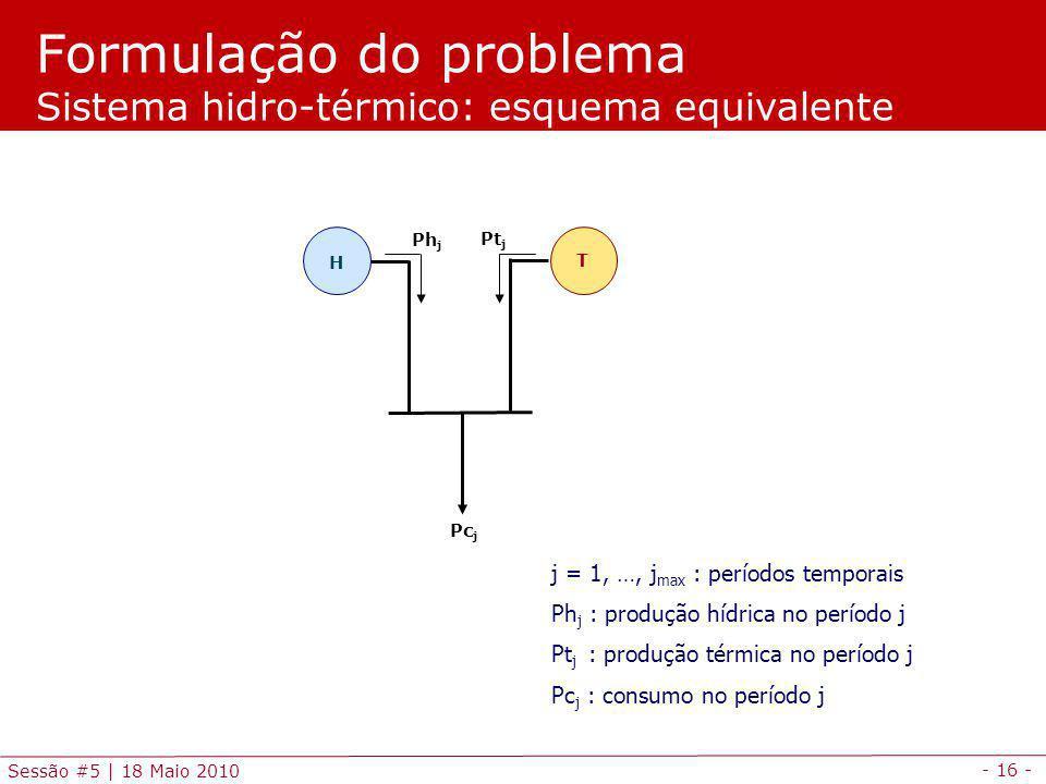 - 16 - Sessão #5 | 18 Maio 2010 Formulação do problema Sistema hidro-térmico: esquema equivalente H T Pc j Pt j Ph j j = 1, …, j max : períodos tempor