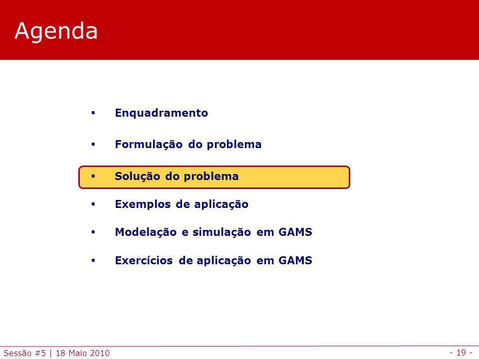 - 19 - Sessão #5 | 18 Maio 2010 Agenda Enquadramento Formulação do problema Solução do problema Exemplos de aplicação Modelação e simulação em GAMS Ex