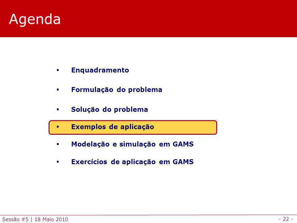 - 22 - Sessão #5 | 18 Maio 2010 Agenda Enquadramento Formulação do problema Solução do problema Exemplos de aplicação Modelação e simulação em GAMS Ex