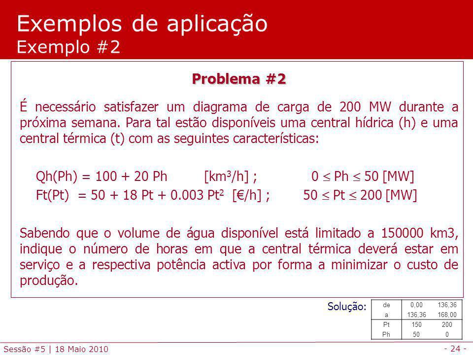 - 24 - Sessão #5 | 18 Maio 2010 Problema #2 É necessário satisfazer um diagrama de carga de 200 MW durante a próxima semana. Para tal estão disponívei