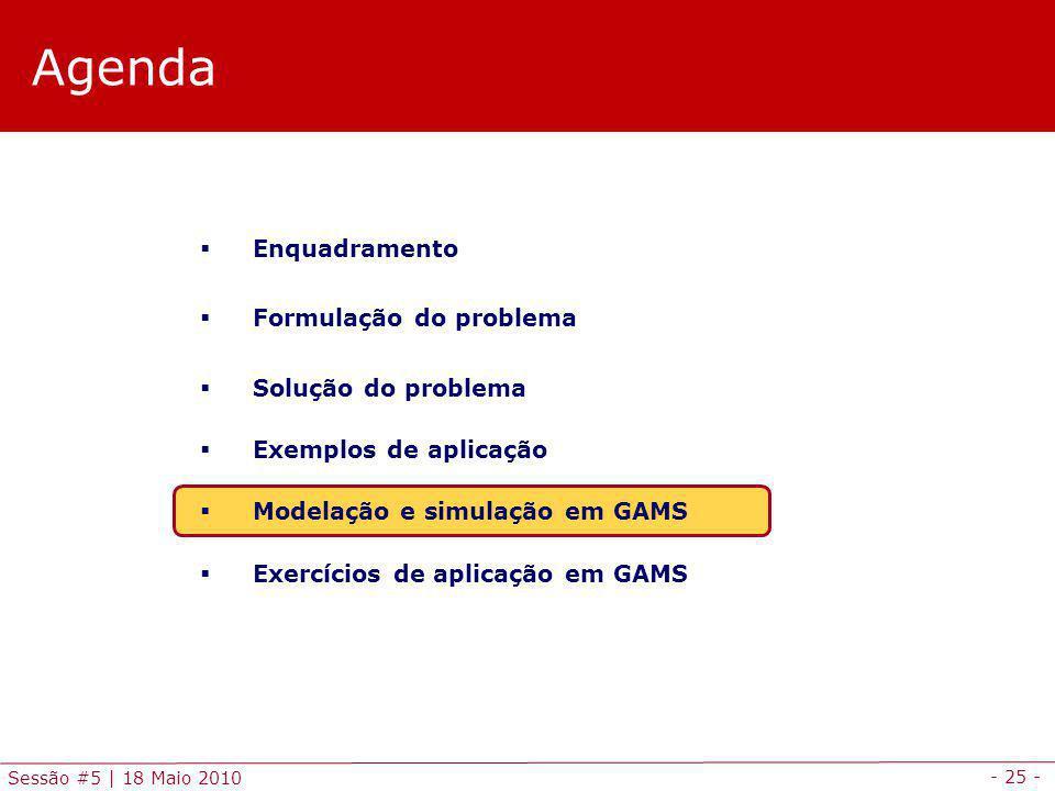 - 25 - Sessão #5 | 18 Maio 2010 Agenda Enquadramento Formulação do problema Solução do problema Exemplos de aplicação Modelação e simulação em GAMS Ex