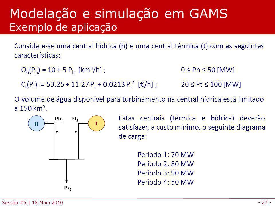 - 27 - Sessão #5 | 18 Maio 2010 Modelação e simulação em GAMS Exemplo de aplicação Considere-se uma central hídrica (h) e uma central térmica (t) com