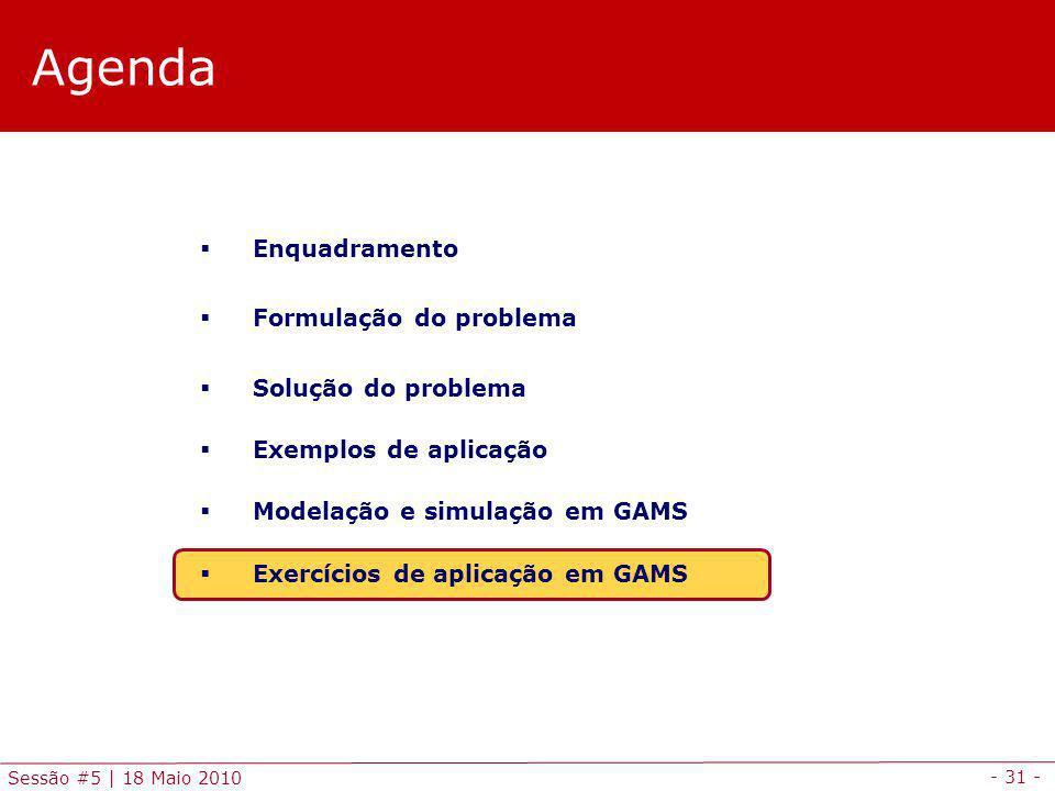 - 31 - Sessão #5 | 18 Maio 2010 Agenda Enquadramento Formulação do problema Solução do problema Exemplos de aplicação Modelação e simulação em GAMS Exercícios de aplicação em GAMS