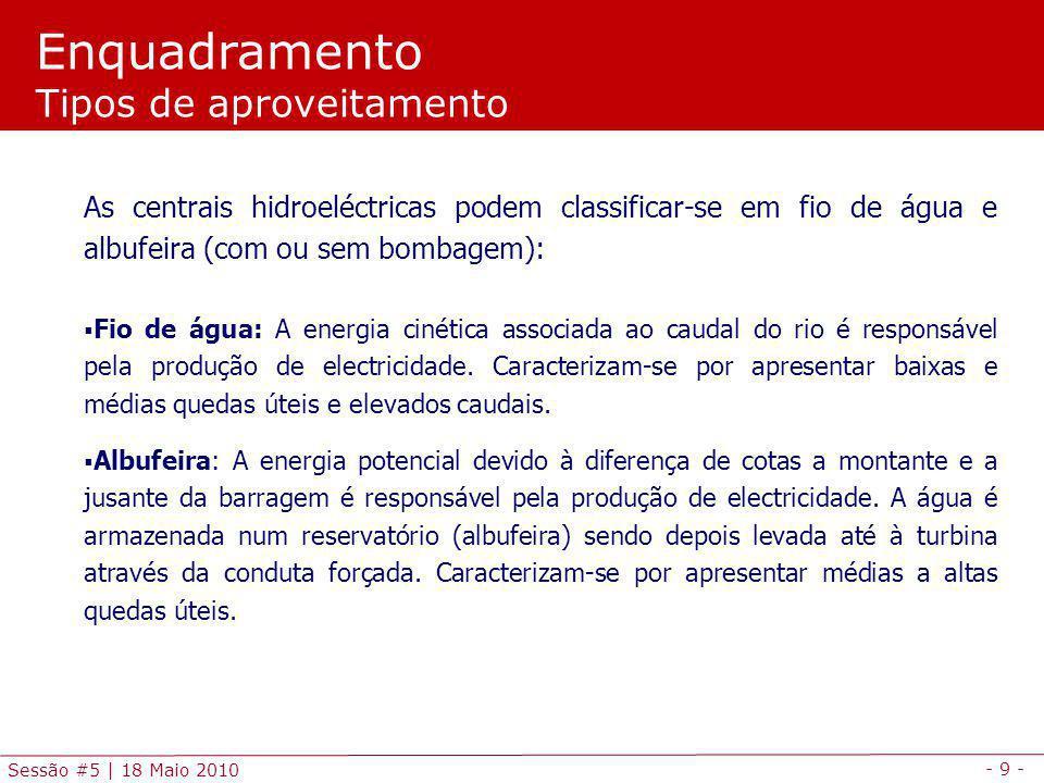 - 9 - Sessão #5 | 18 Maio 2010 As centrais hidroeléctricas podem classificar-se em fio de água e albufeira (com ou sem bombagem): Fio de água: A energia cinética associada ao caudal do rio é responsável pela produção de electricidade.