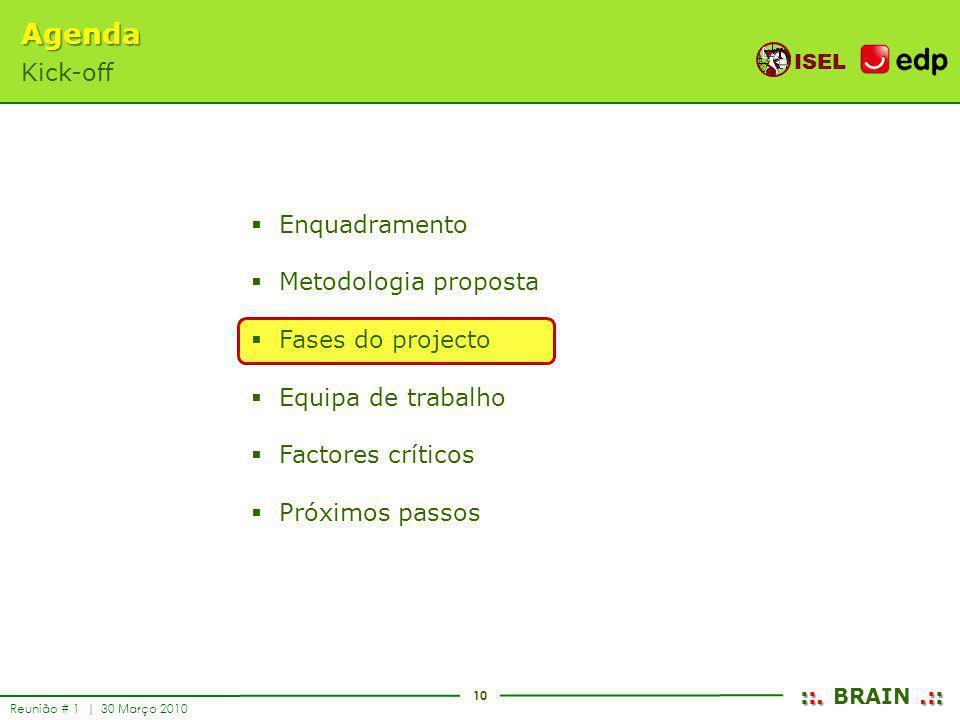 10 ISEL ::..:: ::. BRAIN.:: Reunião # 1 | 30 Março 2010 Enquadramento Metodologia proposta Fases do projecto Equipa de trabalho Factores críticos Próx