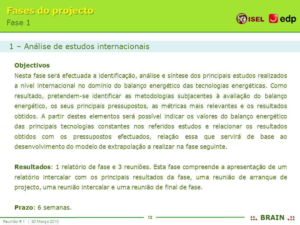 12 ISEL ::..:: ::. BRAIN.:: Reunião # 1 | 30 Março 2010 Fases do projecto Fase 1 Objectivos Nesta fase será efectuada a identificação, análise e sínte