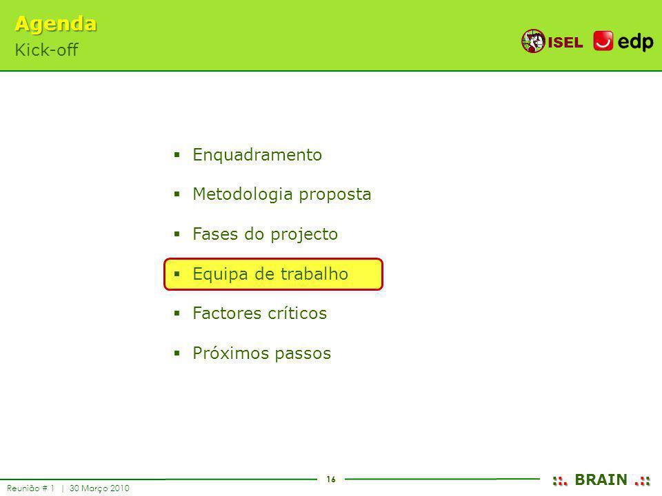 16 ISEL ::..:: ::. BRAIN.:: Reunião # 1 | 30 Março 2010 Enquadramento Metodologia proposta Fases do projecto Equipa de trabalho Factores críticos Próx