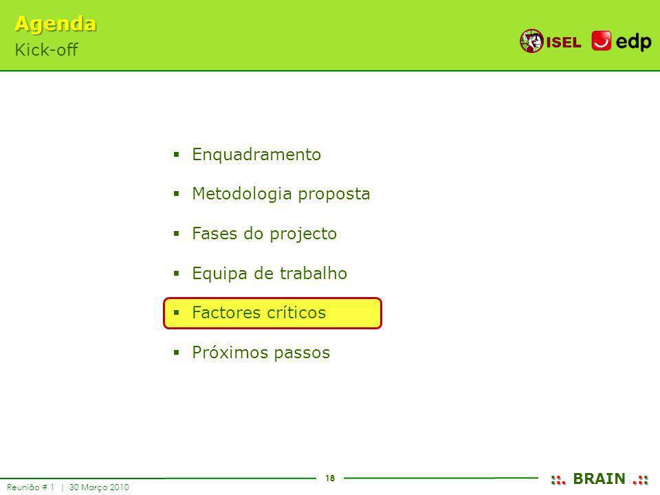 18 ISEL ::..:: ::. BRAIN.:: Reunião # 1 | 30 Março 2010 Enquadramento Metodologia proposta Fases do projecto Equipa de trabalho Factores críticos Próx