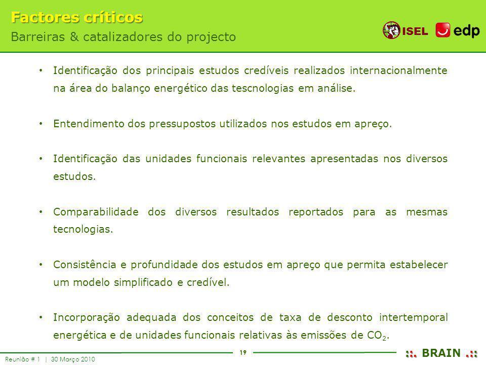 19 ISEL ::..:: ::. BRAIN.:: Reunião # 1 | 30 Março 2010 Factores críticos Barreiras & catalizadores do projecto Identificação dos principais estudos c