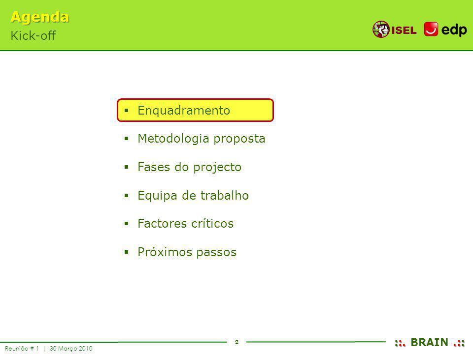 2 ISEL ::..:: ::. BRAIN.:: Reunião # 1 | 30 Março 2010 Enquadramento Metodologia proposta Fases do projecto Equipa de trabalho Factores críticos Próxi