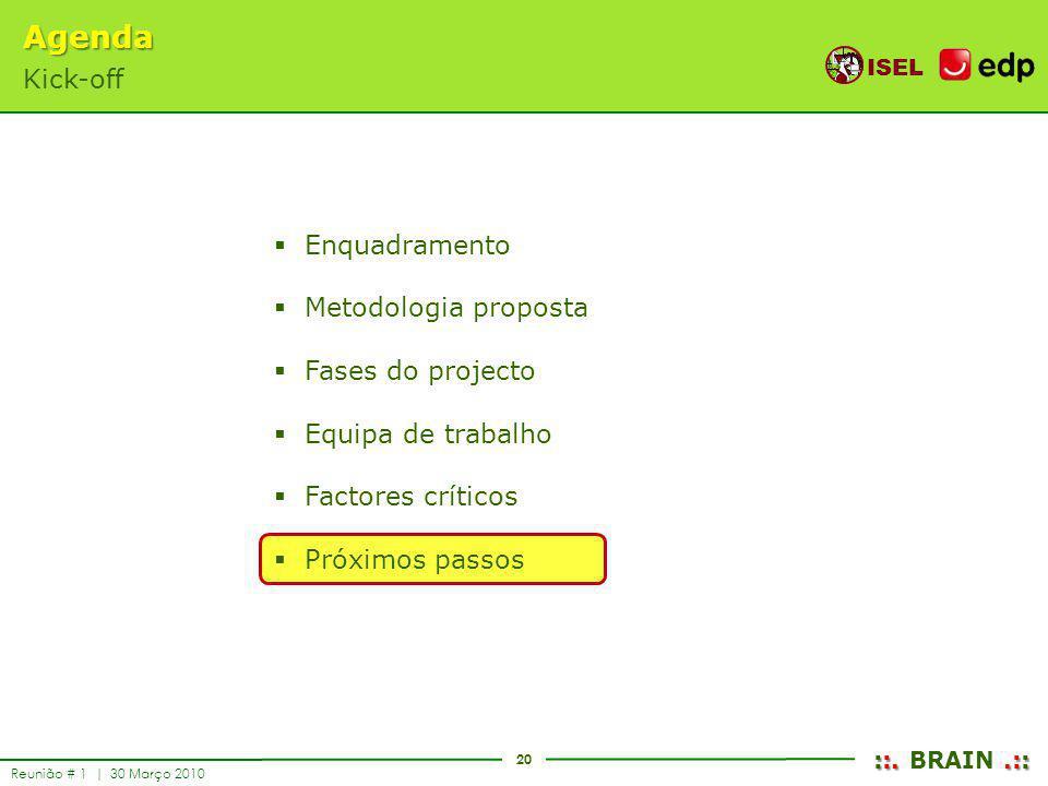 20 ISEL ::..:: ::. BRAIN.:: Reunião # 1 | 30 Março 2010 Enquadramento Metodologia proposta Fases do projecto Equipa de trabalho Factores críticos Próx