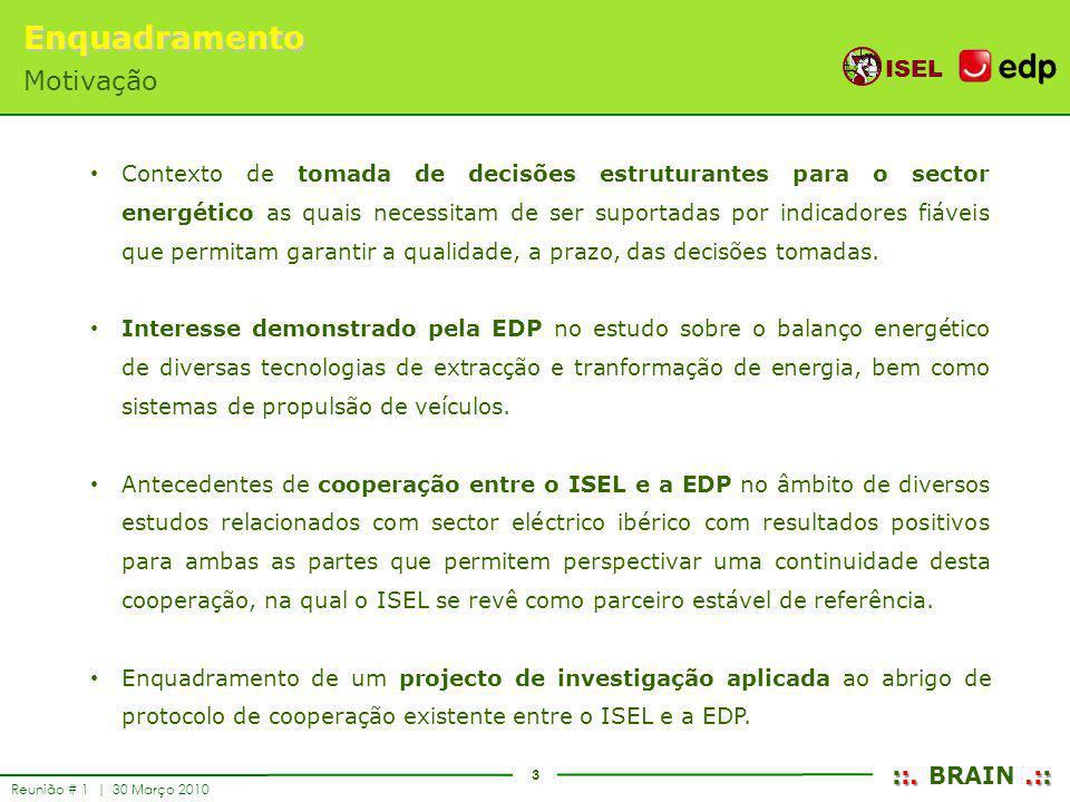 3 ISEL ::..:: ::. BRAIN.:: Reunião # 1 | 30 Março 2010 Contexto de tomada de decisões estruturantes para o sector energético as quais necessitam de se