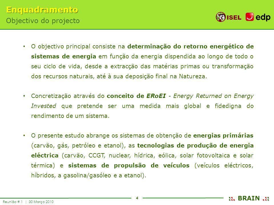 4 ISEL ::..:: ::. BRAIN.:: Reunião # 1 | 30 Março 2010 Enquadramento Objectivo do projecto O objectivo principal consiste na determinação do retorno e