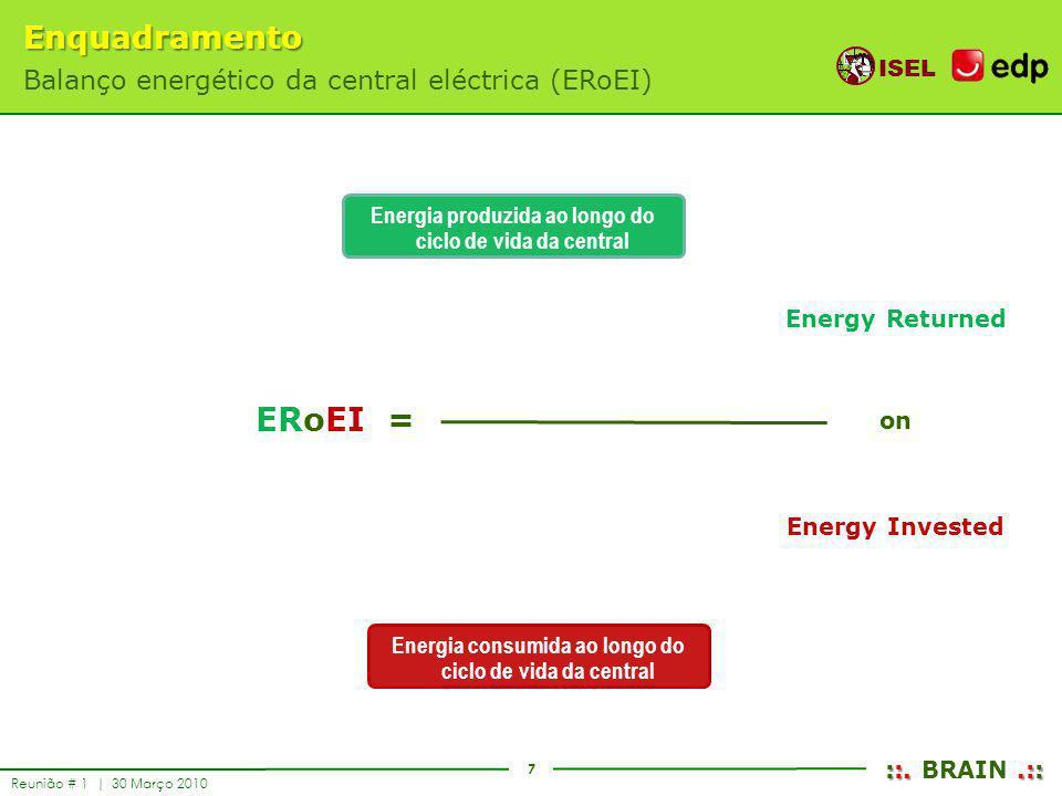7 ISEL ::..:: ::. BRAIN.:: Reunião # 1 | 30 Março 2010 Energia produzida ao longo do ciclo de vida da central Energia consumida ao longo do ciclo de v