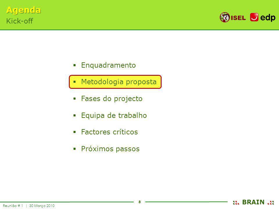 8 ISEL ::..:: ::. BRAIN.:: Reunião # 1 | 30 Março 2010 Enquadramento Metodologia proposta Fases do projecto Equipa de trabalho Factores críticos Próxi