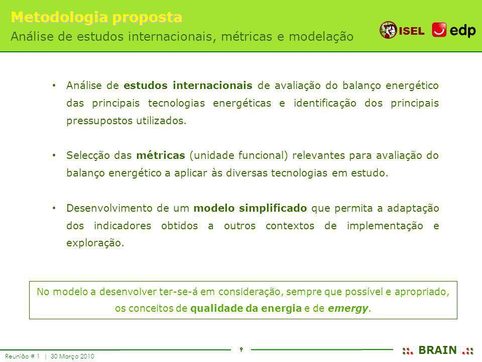 9 ISEL ::..:: ::. BRAIN.:: Reunião # 1 | 30 Março 2010 Metodologia proposta Análise de estudos internacionais, métricas e modelação Análise de estudos