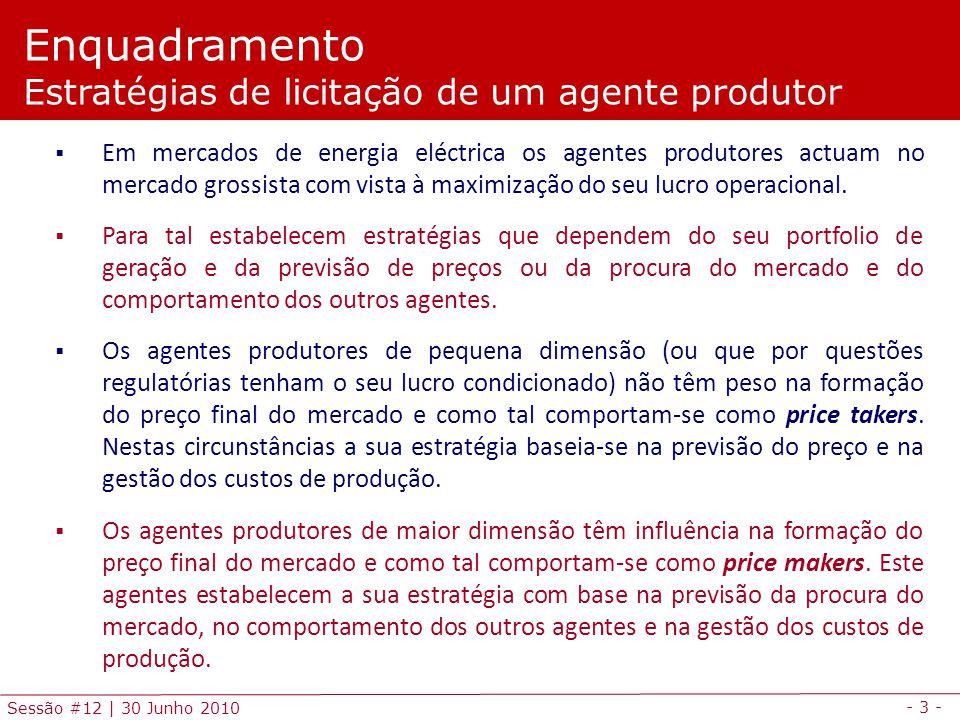 - 3 - Sessão #12 | 30 Junho 2010 Em mercados de energia eléctrica os agentes produtores actuam no mercado grossista com vista à maximização do seu lucro operacional.