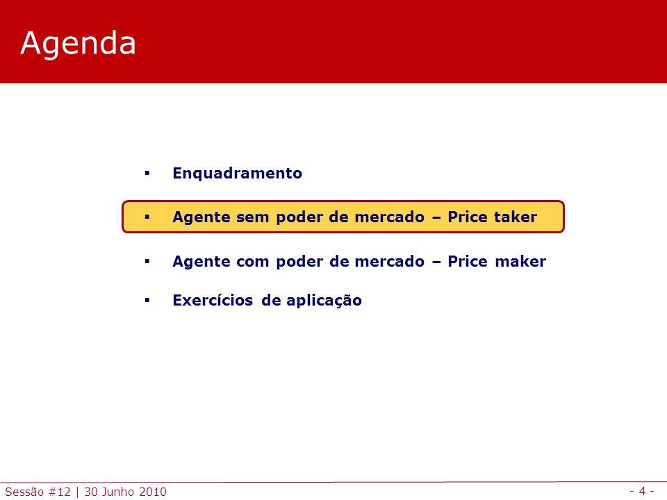 - 5 - Sessão #12 | 30 Junho 2010 Price takers Previsão do preço de mercado Previsão de preços .