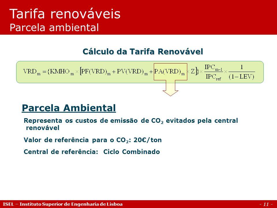 - 11 - Parcela Ambiental Representa os custos de emissão de CO 2 evitados pela central renovável Valor de referência para o CO 2 : 20/ton Central de r