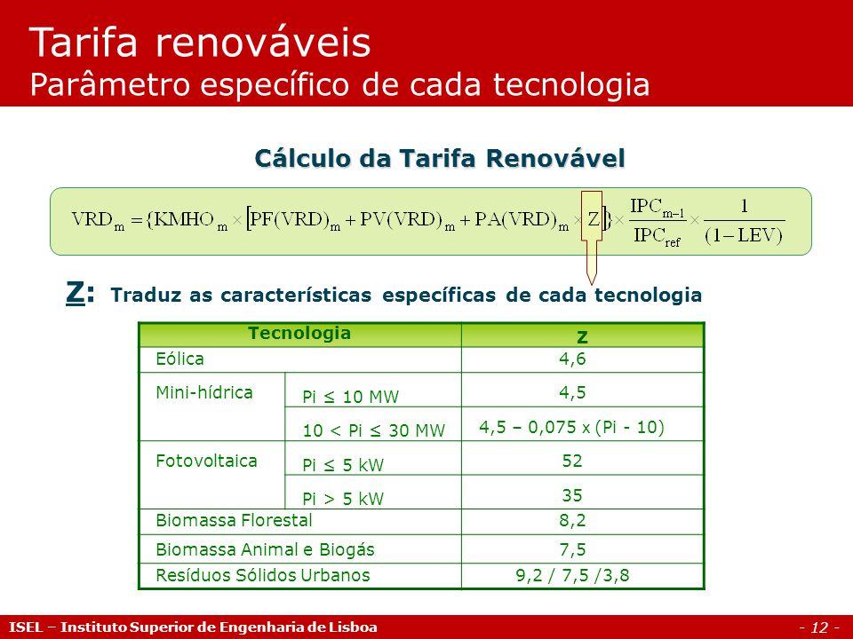 - 12 - Z: Traduz as características específicas de cada tecnologia TecnologiaZ Eólica 4,6 Mini-hídricaPi 10 MW 4,5 10 < Pi 30 MW 4,5 – 0,075 x (Pi - 1
