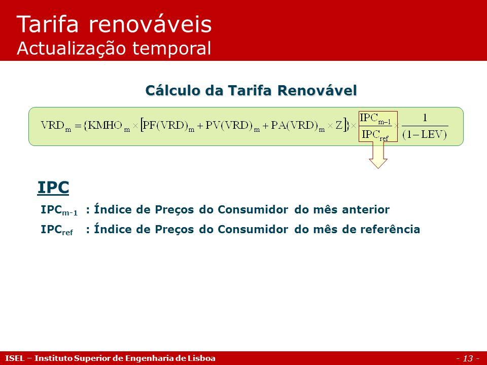 - 13 - IPC IPC m-1 : Índice de Preços do Consumidor do mês anterior IPC ref : Índice de Preços do Consumidor do mês de referência Cálculo da Tarifa Re