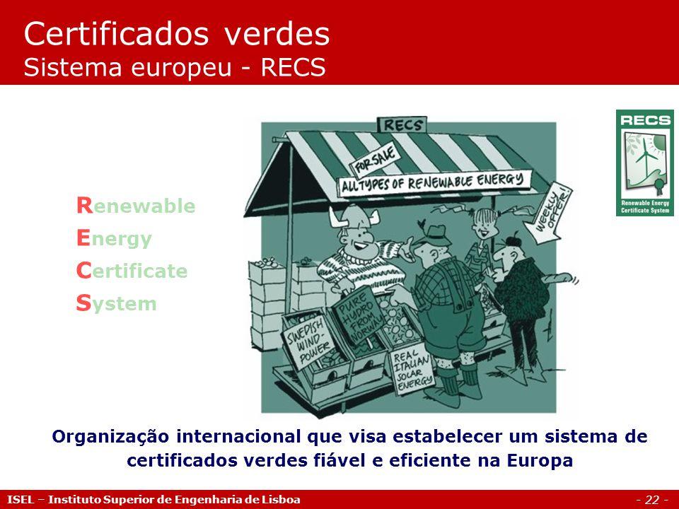 - 22 - R enewable E nergy C ertificate S ystem Organização internacional que visa estabelecer um sistema de certificados verdes fiável e eficiente na