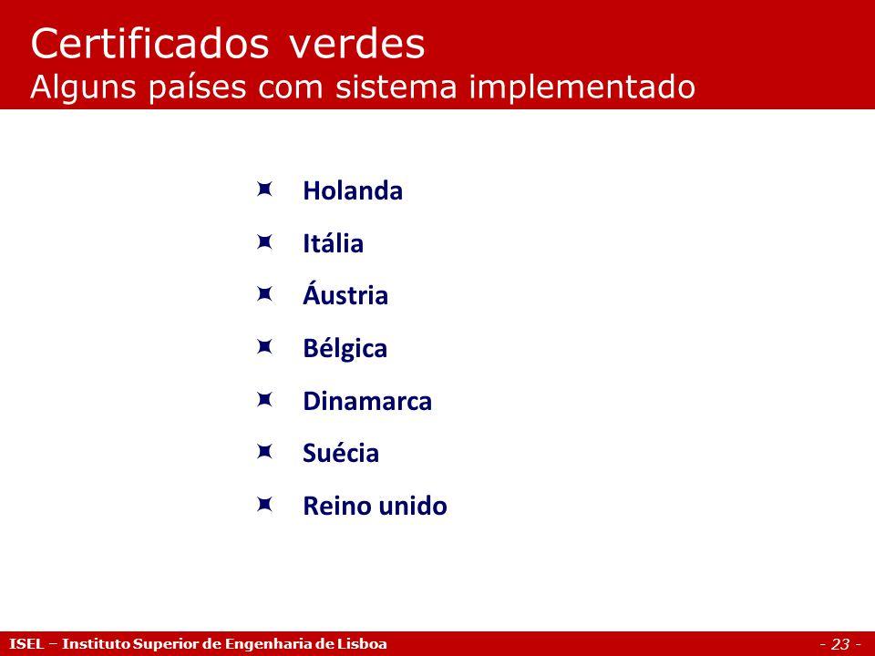 - 23 - Holanda Itália Áustria Bélgica Dinamarca Suécia Reino unido Certificados verdes Alguns países com sistema implementado ISEL – Instituto Superio