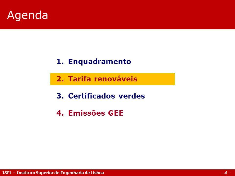 - 15 - FER / PRE/MWh Hídrica (P30MW)76,04 Hídrica (10MW<P<30MW)78,90 Hídrica (P10MW)85,51 Eólica79,98 Biomassa134,19 Biogás110,17 RSU72,23 Fotovoltaica361,36 Cogeração86,40 Tarifa renováveis Valores indicativos por aplicação da tarifa ISEL – Instituto Superior de Engenharia de Lisboa