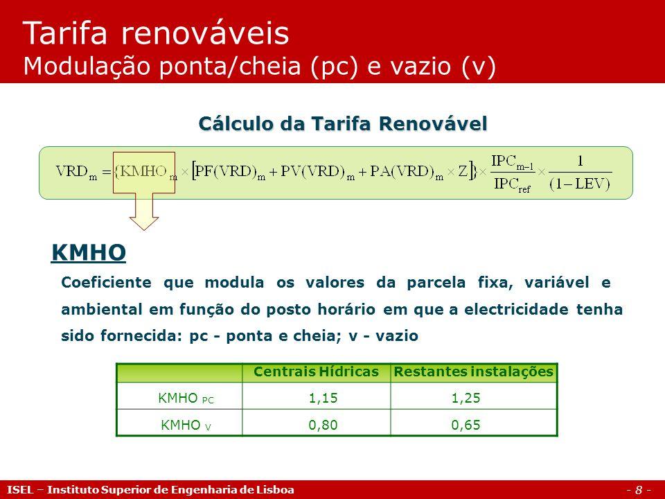 - 9 - Parcela Fixa Representa o custo de investimento evitado pela central renovável Cálculo da Tarifa Renovável Tarifa renováveis Parcela fixa ISEL – Instituto Superior de Engenharia de Lisboa