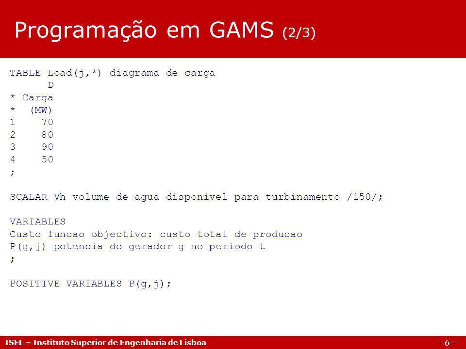 - 6 - ISEL – Instituto Superior de Engenharia de Lisboa TABLE Load(j,*) diagrama de carga D * Carga * (MW) 1 70 2 80 3 90 4 50 ; SCALAR Vh volume de a