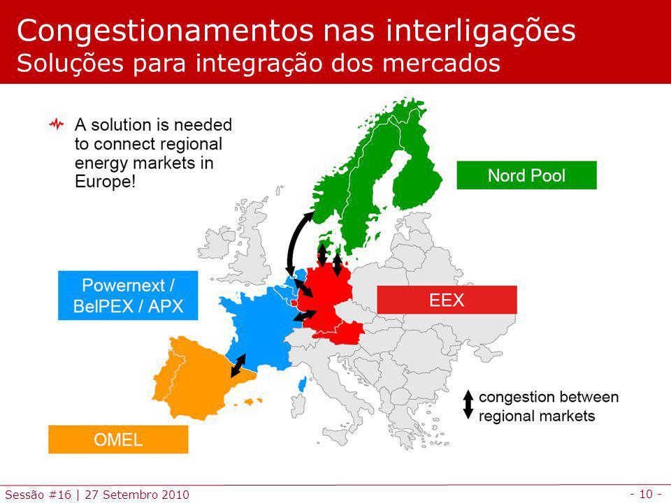 - 10 - Sessão #16 | 27 Setembro 2010 Congestionamentos nas interligações Soluções para integração dos mercados