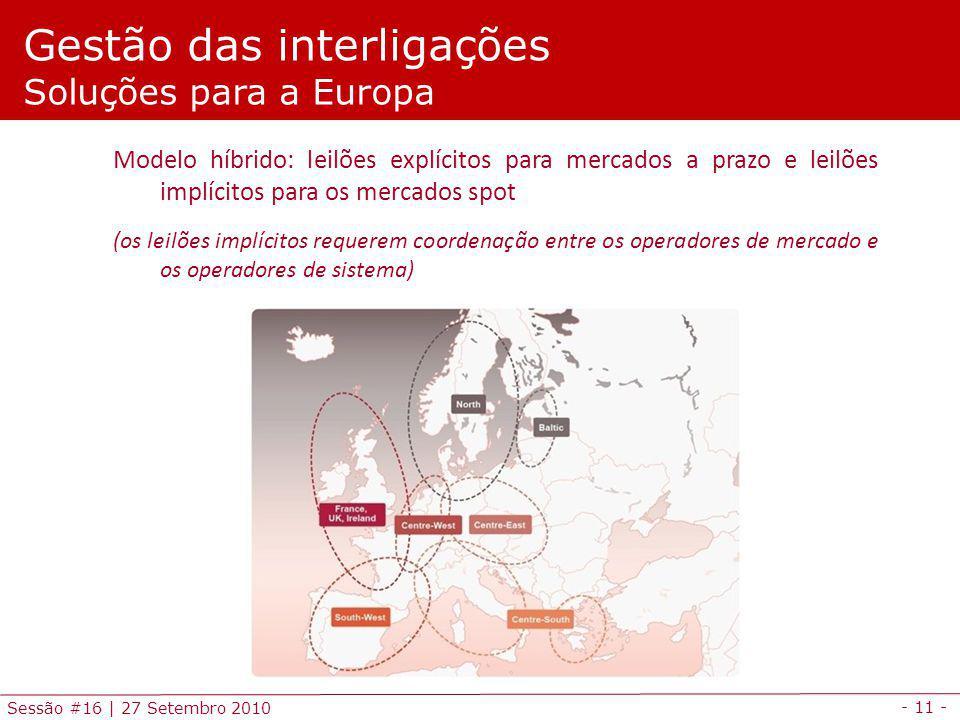 - 11 - Sessão #16 | 27 Setembro 2010 Modelo híbrido: leilões explícitos para mercados a prazo e leilões implícitos para os mercados spot (os leilões i